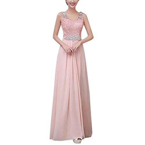 iShine Damen Abendkleid Spitzenkleid Chiffon Langes kleid ...