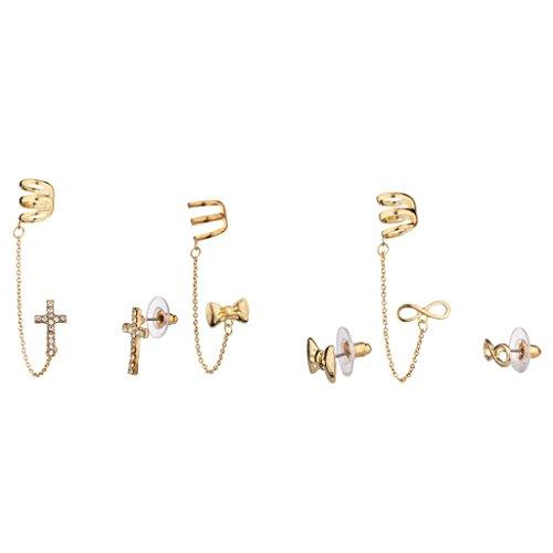 Lux Accessories - Pave Kreuz Schleife Unendlichkeit Multi Ohrring-Set Passender Creeper (Gefälschte Gold Modeschmuck)