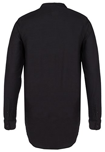 Sublevel Herren Hemd Langarm mit Stehkragen | Business Basic-Hemd Regular Fit Aus Baumwolle Black