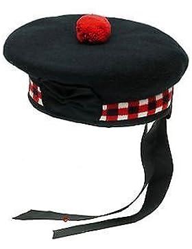 SHYNE KILTS U.K 100% reine Wolle Schottische Balmoral gewürfelten Hat Rot, Weiß & Schwarz Balmoral Hat