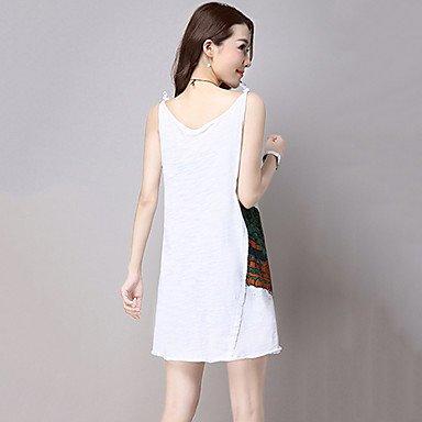 PU&PU Robe Aux femmes Ample simple / Mignon,Imprimé A Bretelles Au dessus du genou Coton / Lin NAVYBLUE-L