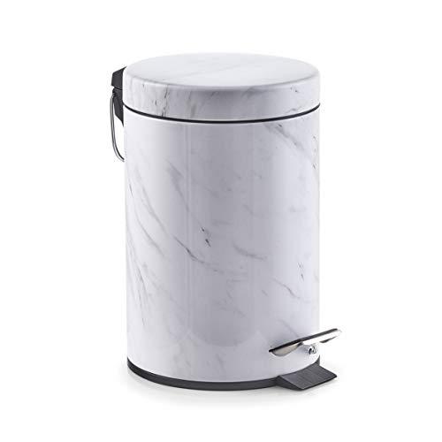 Zeller 18207 Treteimer Marmor, 3 Liter, Metall, ca. 17 x 17 x 26 cm
