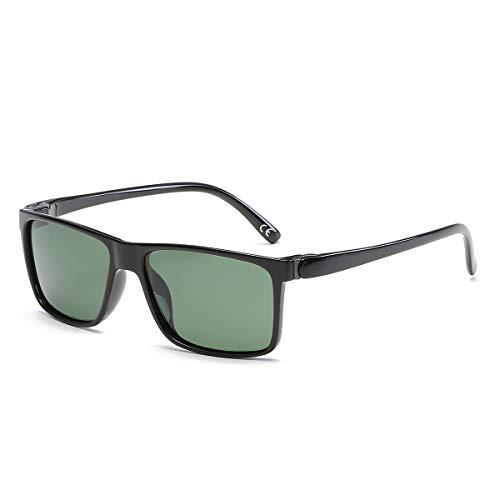 BLEVET Retro Herren Sonnenbrille Polarisierte Damen Sport Fahren Anti UV BX004 (Light Black Frame Green Lens)