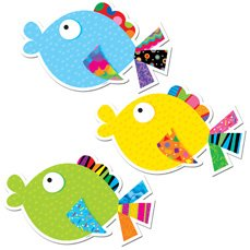 36 x Fancy Fish Picture Display Cut Out Cards (large)
