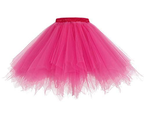 HomRain 1950 Petticoat Tutu Unterrock Underskirt für Rockabilly Kleid Fuchsia M