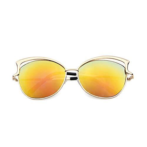 REALIKE Unisex Sonnenbrille Mode klare Linse Gläser Metall Brillengestell High-Mode Katzenohren Brille Travel Eyewear (Farbe :Schwarz, Orange Grau, Blau, Pink, Gold, Silber)