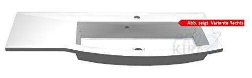 PELIPAL Lunic Mineralmarmor-Waschtisch, Weiß / LU-MMWTR 43-1100-0X / B: 110 cm