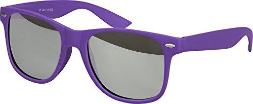Balinco Hochwertige Nerd Sonnenbrille Rubber im Wayfarer Stil Retro Vintage Unisex Brille mit Federscharnier - 96 verschiedene Farben/Modelle wählbar (Lila - Silber verspiegelt)