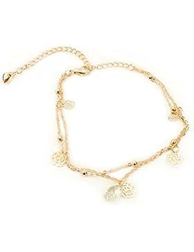 Fablcrew Fußkettchen Süß Hohl Rose Fußkette Kristall Glocken Armband Mode Schmuck Zubehör für Damen Mädchen Gold