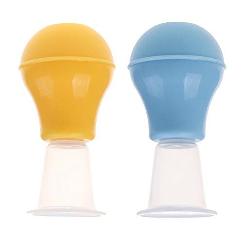2pcs Silikon Brustwarzen Vergrößerung Nippelsauger Nippel Sucker Extra Starke Brustwarzensauger (Blau +Gelb)