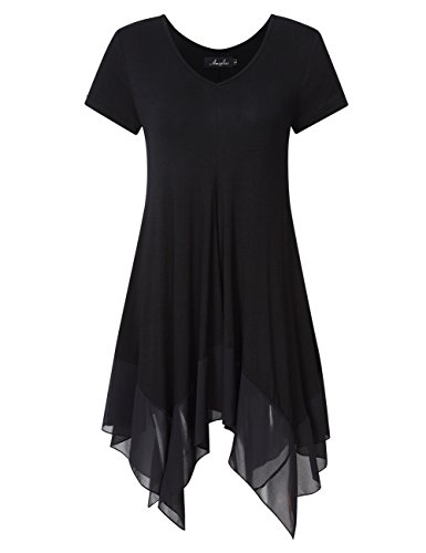 KoJooin Damen Plus Size Tops Casual Loose Longshirts Asymmetrische Chiffon Säume Übergröße Oversize Lässige Bluse Schwarz Kurzarm