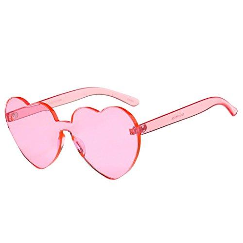Gläser ,Frashing Frauen Fashion Heart-shaped Shades Sonnenbrille Integrierte UV Candy Colored Glasses (Rosa)