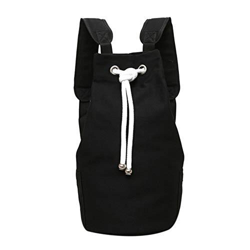 Casual Men Canvas Große Kapazität Barrel Backpack Fashion Einfache Reiserucksack Pack Teenager Schultasche Schwarz -