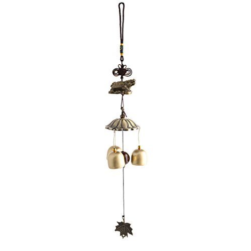 Dealmux Métal cadeaux de Noël Tortue Beast trois cloches Pendentif feuille de perles à suspendre Windbell Bronze Tone