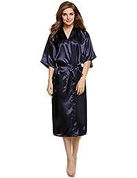 Elevanto Premium Collection Micro Satin Navyblue Color Womens Night  Dress Robe(01-Navy 12cbfeed5