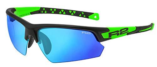 R&R Multi-Sportbrille Evo | Sonnenbrille | Radbrille | Laufbrille mit Wechselgläser (schwarz/grün, Wechselgläser)