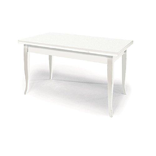 Table Extensible comportant 2 rallonges DE 30 cm, Style Classique, en Bois Massif et MDF avec Finition Blanc Mat - Dim. 100 x 70