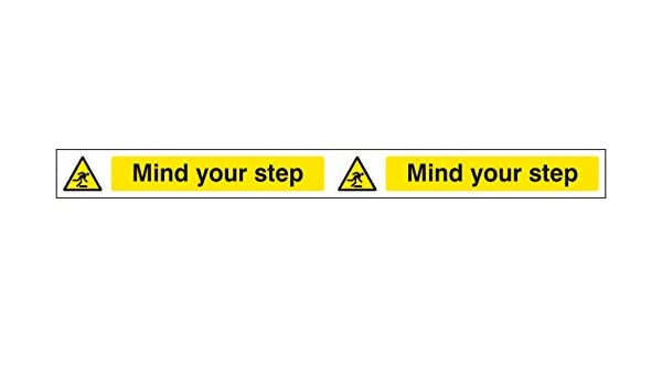 Self Adhesive Vinyl Mind your head strip 400x35mm Warning Signs