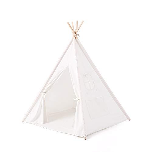 Reyke Tipi Kinder Spielzelt aus Baumwolle-Segeltuch Kiefer, Indianer Kinderzelt mit Fenster, Matte und ohne Zubehör, einfach montieren für Kinderzimmer, Mädchen, Jungen (Weiß 160cm Hoch)