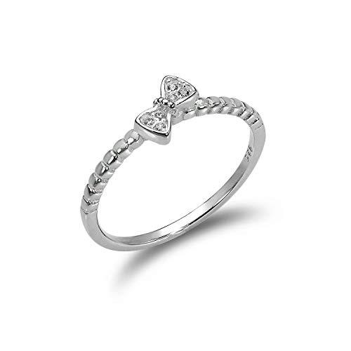 Sterling Silber 1mm Ring mit CZ Kristall Schleife | Ringgröße: 52 (Durchmesser: 16,6mm)