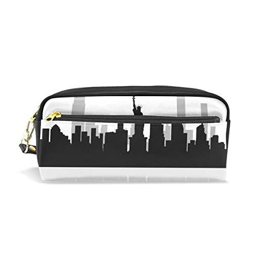 Federmäppchen, Motiv New York Skyline, großes Fassungsvermögen, mit strapazierfähigem Doppelreißverschluss, für Schule, Büro, Kosmetik, Stifte, Schreibwaren