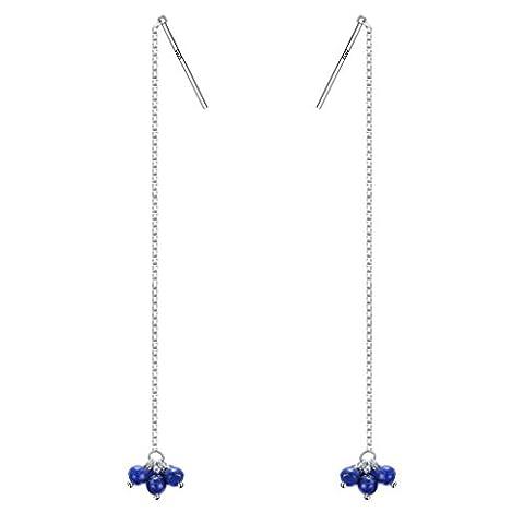 Clearine Damen 925 Sterling Silber Böhmisch Boho Lapis Lazuli Lange Kette Einfädler Durchzieher (Kette Einfädler Ohrringe)
