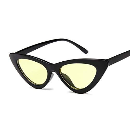 DAIYSNAFDN Mode Kleine Sexy Damen Cat Eye Sonnenbrille Frauen Vintage Spiegel Sonnenbrille Weibliche Uv400 Black Yellow
