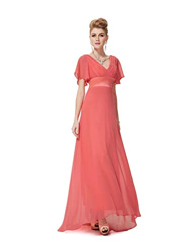 Ever-Pretty Plus Size Double V-Neck Evening Gowns Long Bridesmaid Cocktail Dress Coral 12 (Harley Davidson 5x)