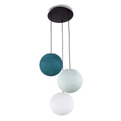 Plafonnier 3 Globes S Blanc - Azur - Bleu Canard