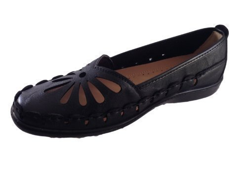 50143c033b6 WOMENS FAUX LEATHER CASUAL COMFORT LOAFERS CUT OUT FLEXI SOLE FLAT SHOES  SANDALS LADIES BLACK SIZE