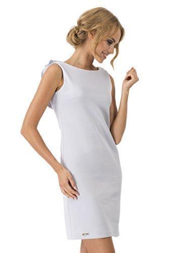 Futuro Fashion Femmes Robe Droite Sans manche Col Bateau Dos Ouvert Cocktail Crayon FA367 Cendre