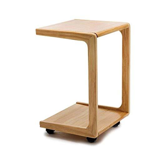 LILISHANGPU Tavolino da caffè Tavolo Multifunzionale con Ruote a Doppio Strato, Tavolo di stoccaggio in Legno, Piccolo tavolino da Salotto, Piccola scrivania (Dimensioni : 39 * 34.5 * 58CM)