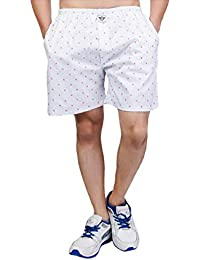 White Moon Cotton Men's Printed Casual,Sports,Regular Wear Boxer/Shorts With Pockets In White Colour