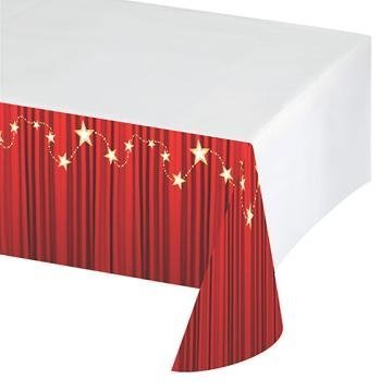 Hollywood or Prom Party - Red Carpet Event Party Tablecover - cater your prom or hollywood themed party in style - generously size plastic tablecloth to protect and decorate your party table by Red Carpet Party Supplies