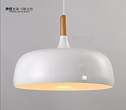 Simple modern Nordic Restaurant Restaurant chandelier lamp creative personality Bar Cafe wooden aluminum cover single head lamp,white,48cm*40cm