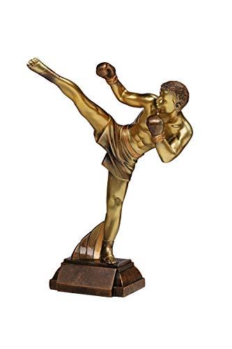 Henecka Kickboxen-Pokal, Resinfigur Kickboxen, broze und Gold, mit Wunschgravur, Größe 29 cm