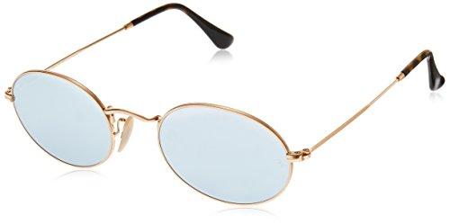 Ray Ban Unisex Sonnenbrille Oval Flat Lenses Gestell: Gold,Gläser: grau 001/30), Medium (Herstellergröße: 51)