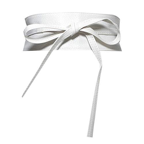 Reversible Woven Shirt (YBWZH Damen Ledertasche Breiter Leder Gürtel mit Gürtelschnalle Stretchgürtel mit Gürtelschnalle Eleganter Gürtel Schlichter Damen Gürtel Fashion Breiter Taillengürtel Hüftgürtel(Weiß))