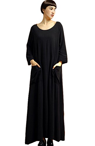Vogstyle Damen Baumwolle Leinen Freizeit Maxikleider mit Taschen (Holloween Kleider)