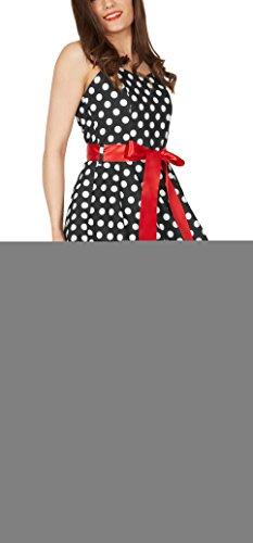Black Butterfly 'Rhya' Vintage Polka-Dots Kleid im 50er-Jahre-Stil Schwarz - Weiße Punkte
