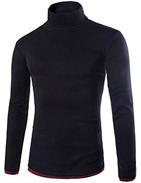 Suéter Hombre Jersey Caliente De Cuello Alto Delgado Manga Larga Casual