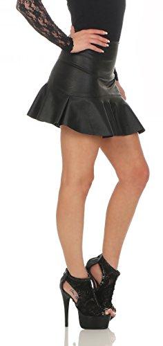 11044 Fashion4Young Damen Rock Minirock Rock Lederimitat Skirt Volantrock Damenrock Schwarz