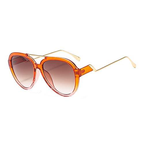 HQMGLASSES Übergroße Pilotenbrille in Bonbonfarbe, transparent, transparent, Brille und Etui in Celebrity-Tönen, 100% UV-Schutz für Reisen/Urlaub,OrangeFrame