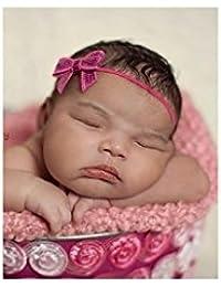 Fushia. Bandeaux cheveux bébé/enfant noeud strass (A)