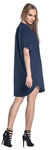 Glamour Empire. Femme Robe Manches Courtes à Revers Ourlet Plongeant. 096 Marine