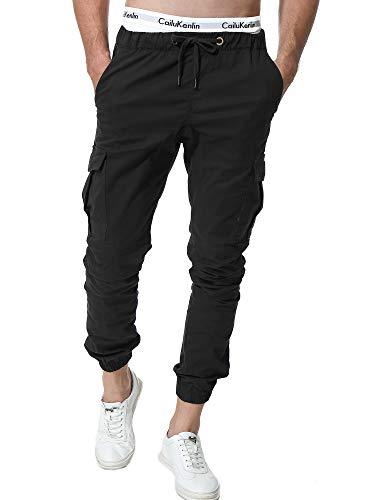 Zoerea Jogger Cargo Herren Chino Jeans Hose Elastische Taille Gürtel mit Taschen Verbesserte Schwarz,3XL