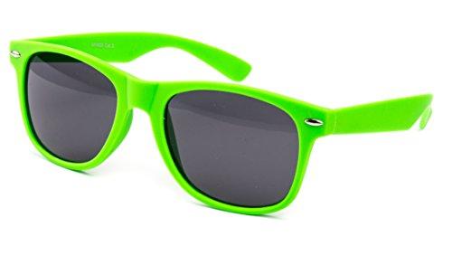enbrille Nerdbrille Brille Nerd Matt Gummiert Neon Grün UV400 (Neon Party Sonnenbrille)