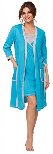 Happy Mama. Femme allaitement chemise nuit / peignoir VENDUE SÉPARÉMENT. 772p Robe de chambre - Turquoise & Gris