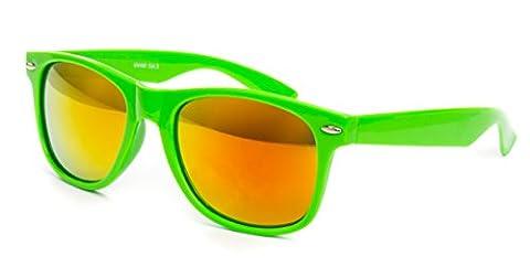 EL-Sunprotect® Sonnenbrille Nerdbrille Brille Nerd Feuer Verspiegelt Neon Grün UV400