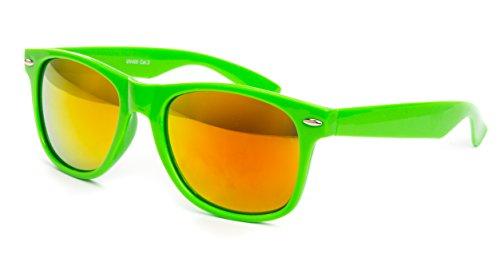 enbrille Nerdbrille Brille Nerd Feuer Verspiegelt Neon Grün UV400 (Neon Party Sonnenbrille)
